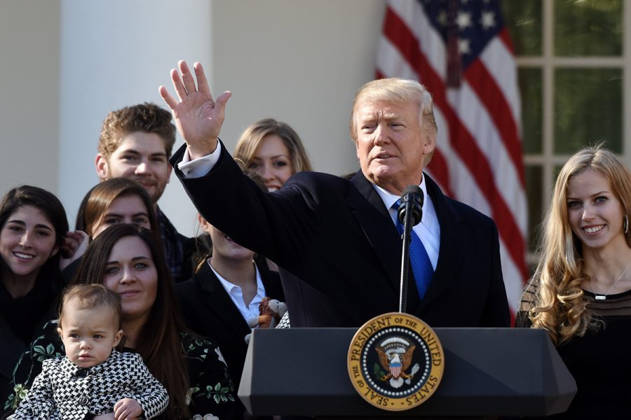 U.S. President Donald Trump addresses March for Life Participants and Pro-Life Leaders in the Rose Garden of the White House Jan. 19, 2018 in Washington, D.C. (Olivier Douliery/Abaca Press/TNS)
