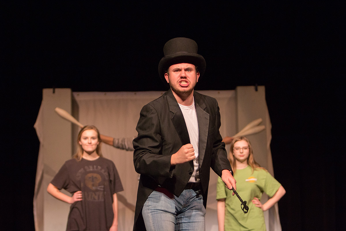 Senior Brennon Cope practices a scene from the UIL One Act Play