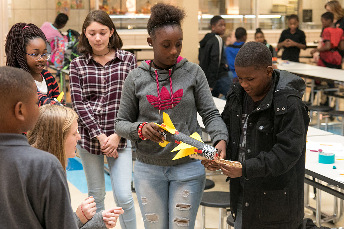 Fifth grade students at Westlawn Elementary build model rockets, designed to teach them the laws of motion. Science Club has traveled to this campus twice, as part of their local outreach.