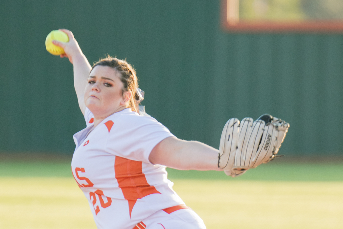 Junior Mabry Smith pitches another inning trying to throw off the batter with each throw. In a close game against Sulphur Springs, the Lady Tigers softball team lost a game with the score ending 4-6.