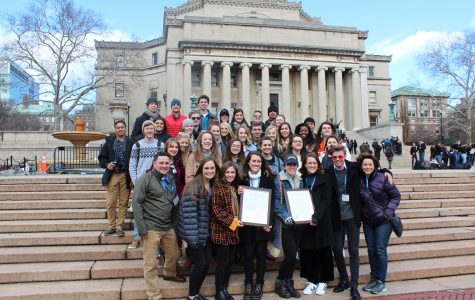 Editors, staff and advisors of yearbook and newspaper gather for a picture at the steps of Columbia University after winning gold across the board. Submitted photo