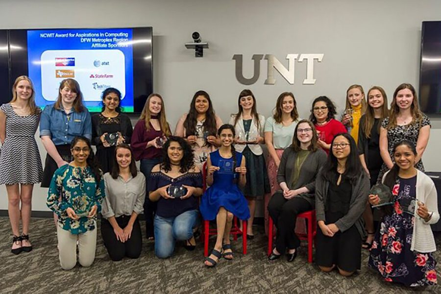 Female students from the state of Texas attend the award ceremony for the National Center for Women and Information Technology. Junior Kaitlyn Gordon and senior Macheala McAdams both received the 2018 DFW Affiliate Winner of the NCWIT Award for aspirations in computing. submitted photo
