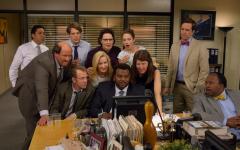 The cast gathers around to catch the latest gossip.