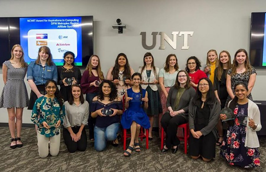 Female students from the state of Texas attend the award ceremony for the National Center for Women and Information Technology. Junior Kaitlyn Gordon and senior Macheala McAdams both received the 2018 DFW Affiliate Winner of the NCWIT Award for aspirations in computing.
