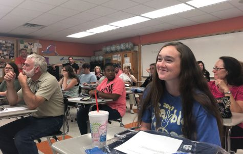 Sophomore Macie Webb attends a meeting about the Texas High trip to London, Paris, Munich, and the Swiss Alps. She will accompany the group to travel to Europe on July 6.