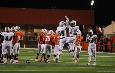 Mesquite Poteet Pirates celebrate after taking down a Texas High Tiger. Poteet beat Texas High with a score of 46 to 28.