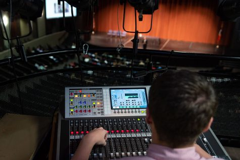 A member of the Texas High Thespians uses the soundboard to further emphasize the story onstage. The Tiger Theatre Company hosted the play