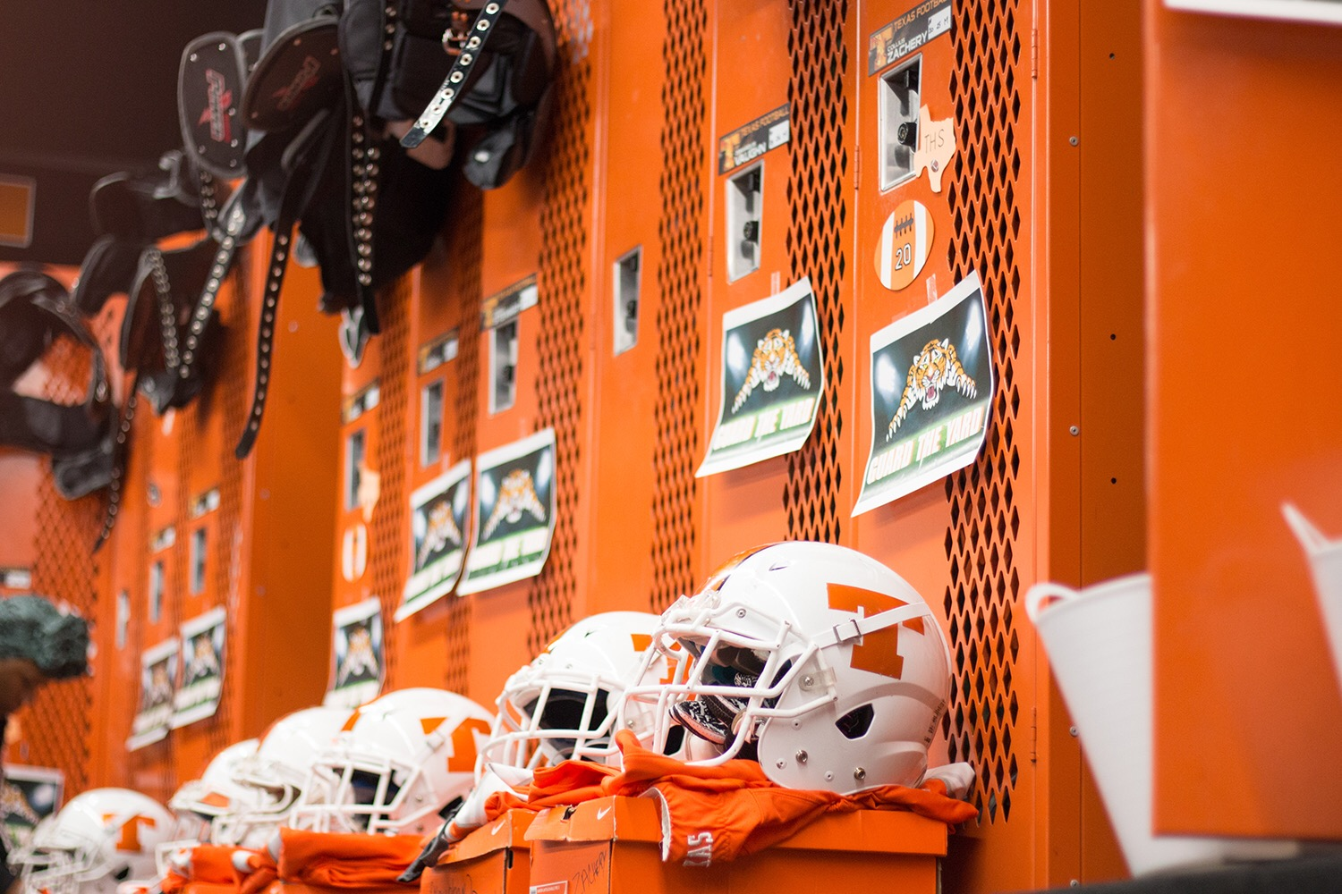 Football lockers are decorated with gifts from the mothers of players. This tradition started  to get mothers more involved with football.