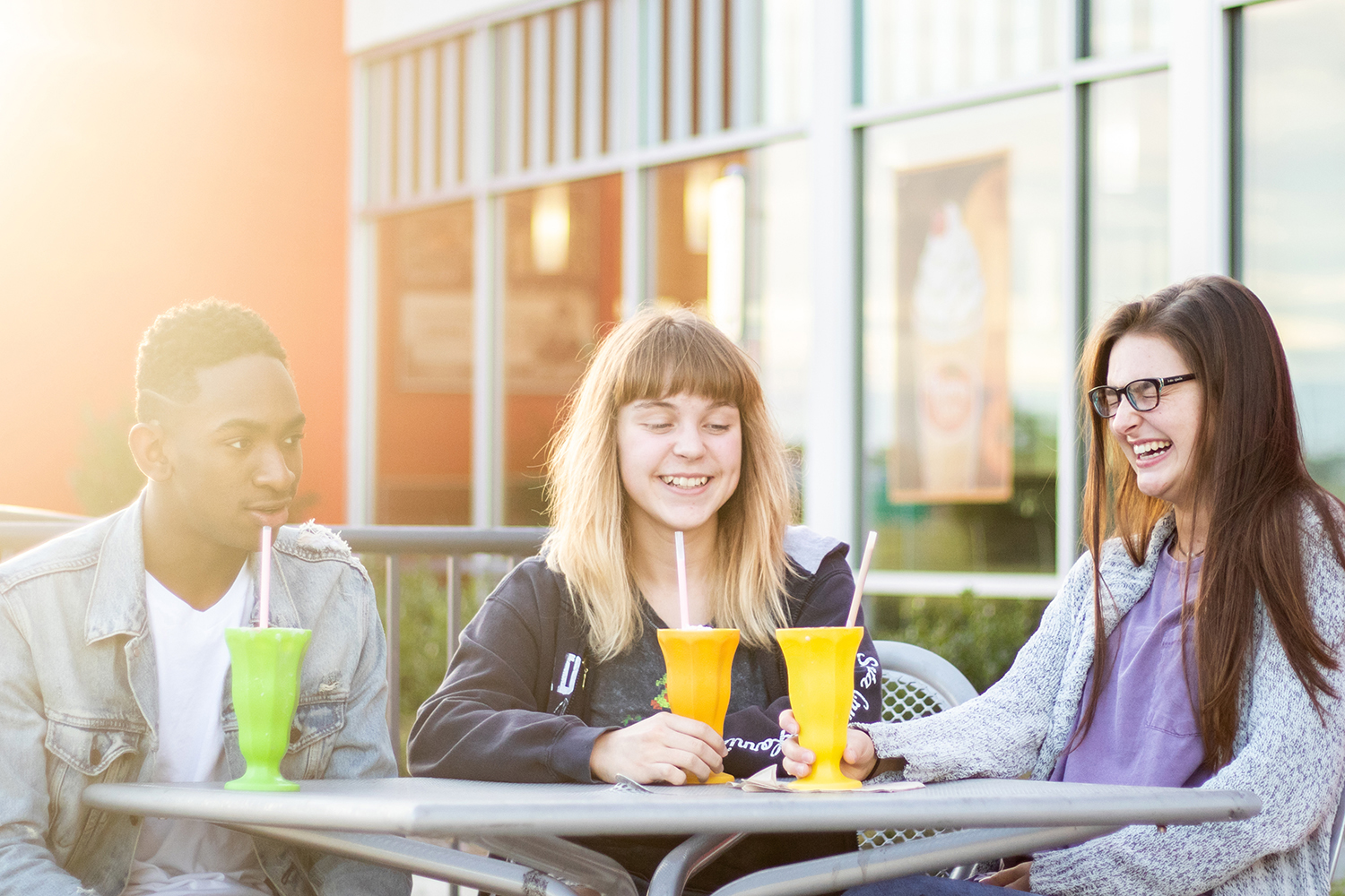 Students enjoy their down time at the local Steak 'N Shake. Throughout the years, hangouts have evolved from drive-ins to the multiple restaurants we see today.
