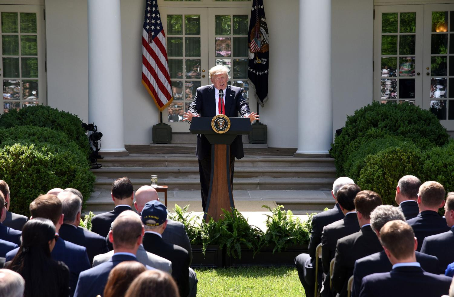 President Donald Trump makes a statement on The Paris Climate Change Accord during an event in the Rose Garden of the White House, on June 1, 2017 in Washington, D.C. (Olivier Douliery/Abaca Press/TNS)