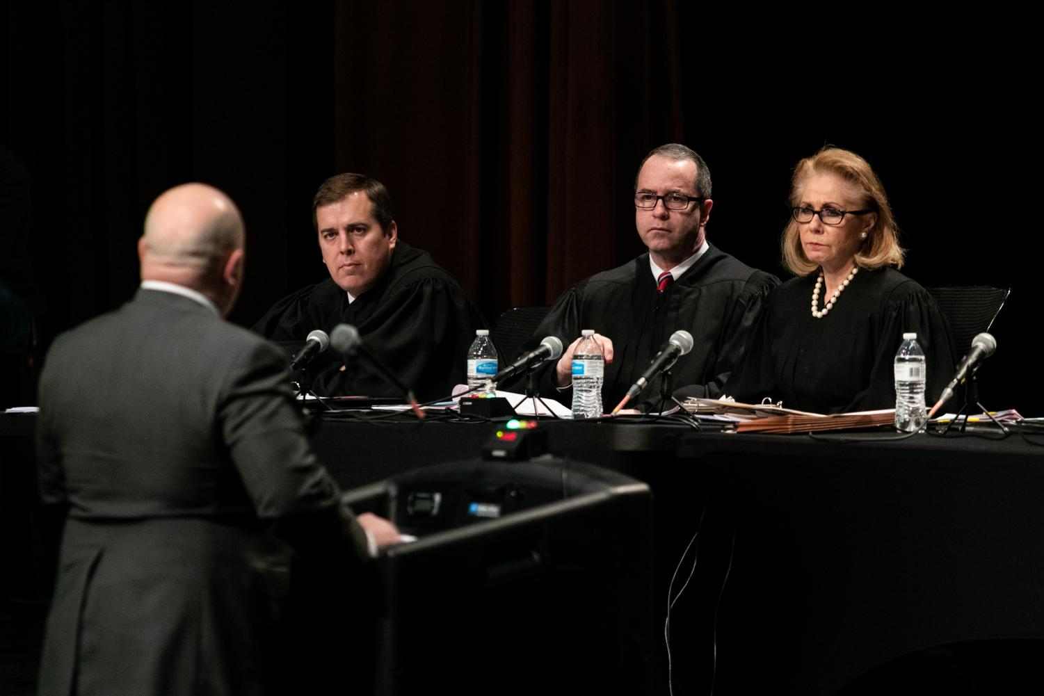 Texas Supreme Court Justices hear oral arguments from various lawyers. The Court joined the Arkansas Supreme Court in hosting a series of events at the end of January.