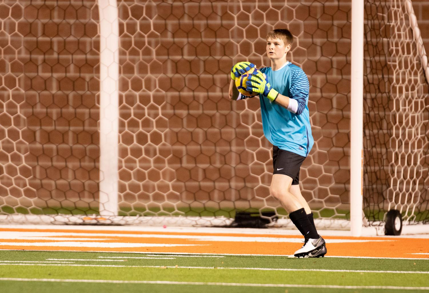 Senior Kemper York serves as the goalie on the Boys Varsity Soccer Team. Kemper transferred to Texas High at the beginning of this year.