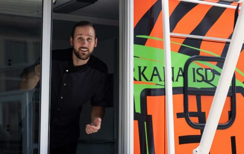 TISD Executive Chef, Cory House, looks out of the window of his new food truck on August 8, 2019. The former Tigervision vehicle received an overhaul during the summer.
