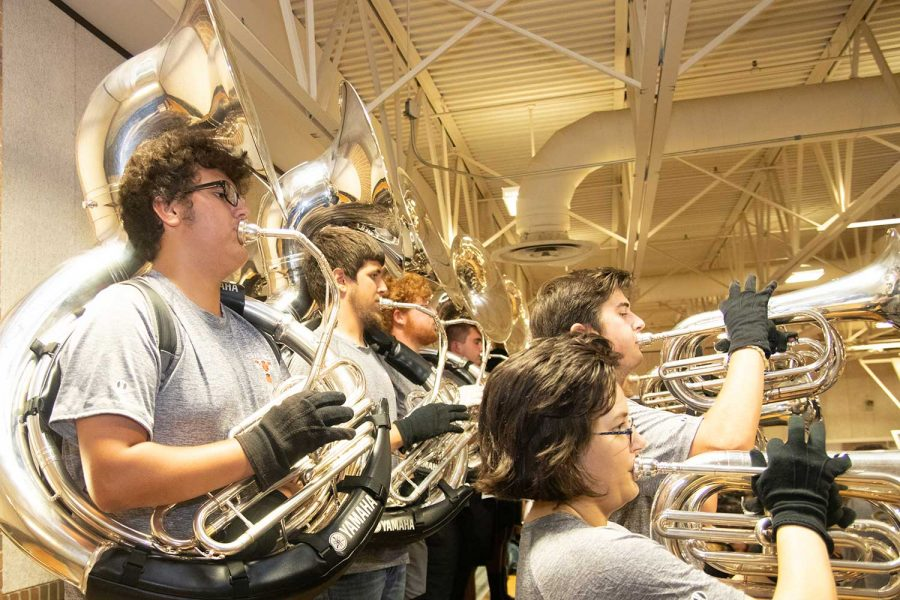 Students+perform+the+%22tuba+song%22+at+the+Texas+vs.+Arkansas+pep+rally.+The+song+made+its+return+after+a+petition+was+created+and+the+Song+for+a+Cause+fundraiser+began.
