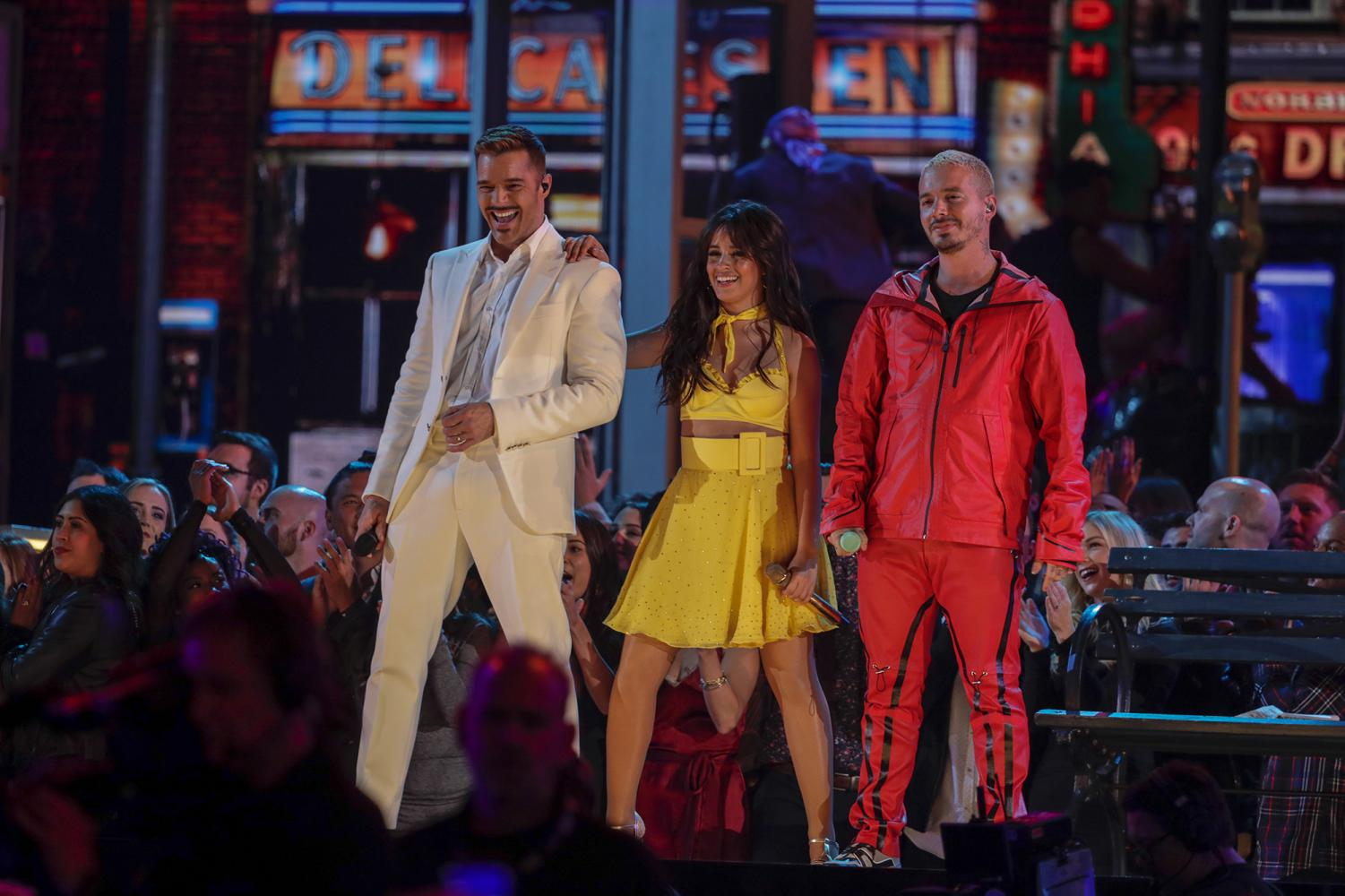 Ricky Martin, Camila Cabello, and J Balvin perform during the 61st Grammy Awards at Staples Center in Los Angeles on Sunday, Feb. 10, 2019. (Robert Gauthier/Los Angeles Times/TNS)
