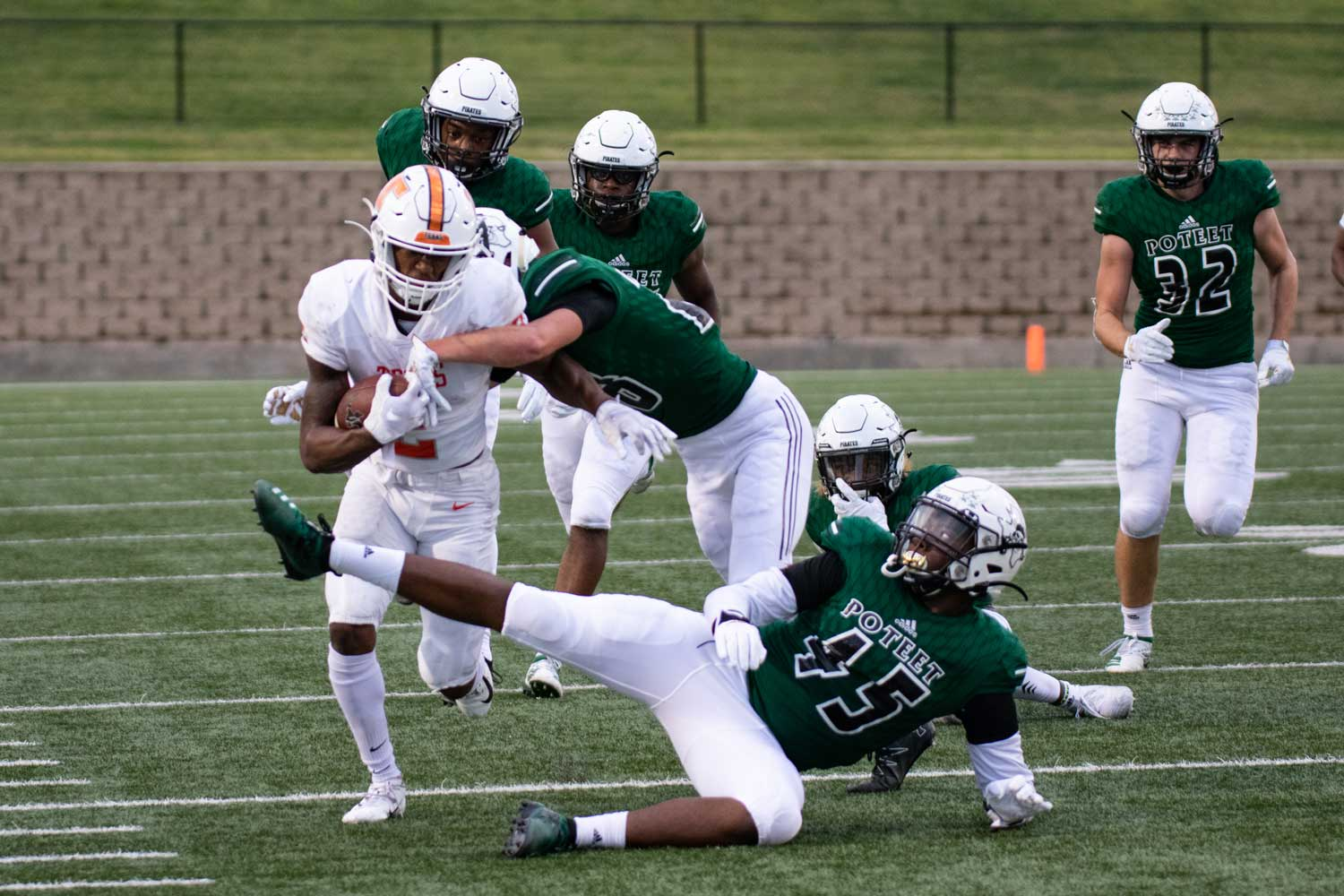 Tracy Cooper rushes against Mesquite Poteet defense on Oct. 11, 2019. The Tigers lost to the Pirates with a score of 10-55 to remain winless in district play.