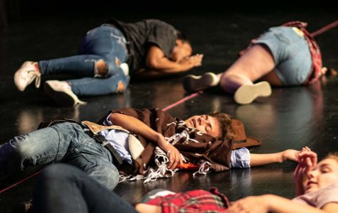 Senior Remington Cook lays dead after an acting game at Howdy Camp. This camp served as an orientation to new theater students.