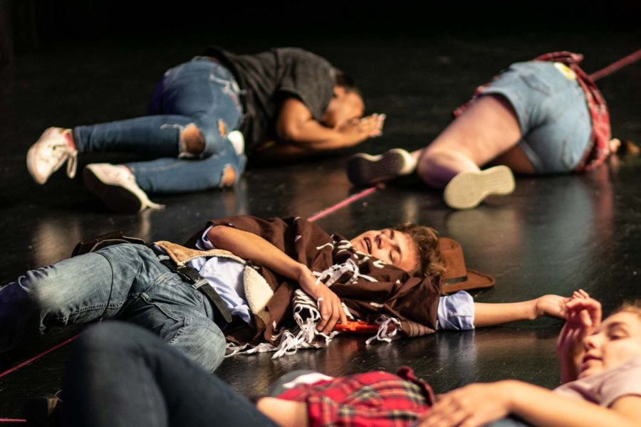 Senior+Remington+Cook+lays+dead+after+an+acting+game+at+Howdy+Camp.+This+camp+served+as+an+orientation+to+new+theater+students.