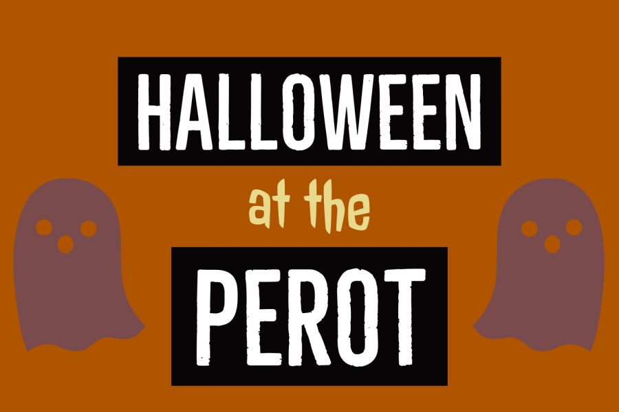 Graphic by Kaitlyn Rogers. On Oct. 18 and 19, the Perot Theatre will be hosting ghost tours and screening classic Halloween movies.