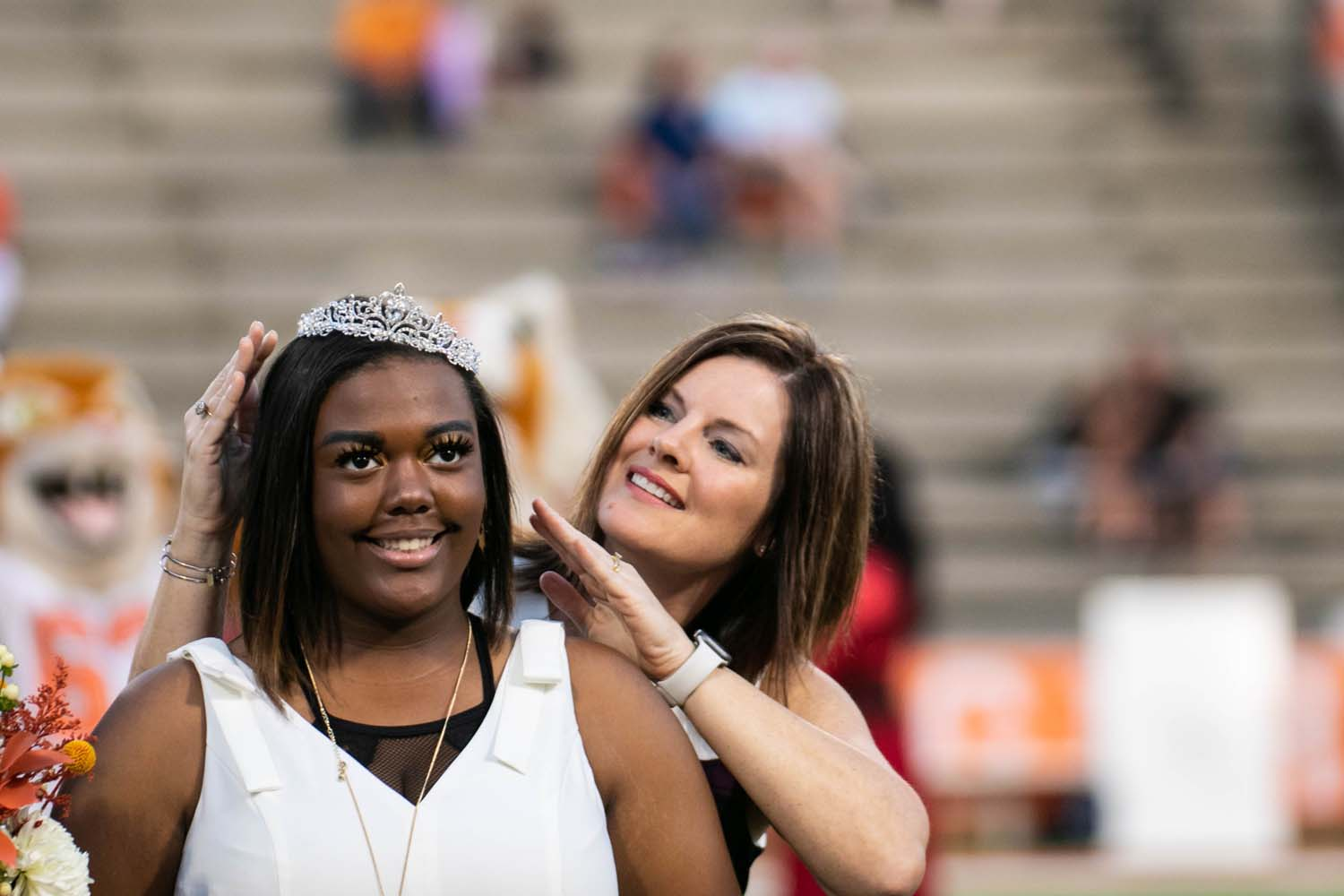 Principal Carla Dupree crowns drum major Skylar Black as the 2019 homecoming queen. Announcement and crowning occurred during pregame activities.