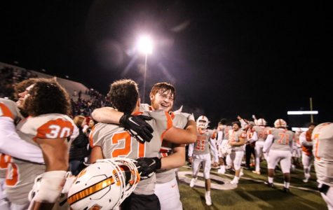 Texas High football players celebrate their victory over the Lufkin Panthers on Friday,. Nov. 15th. The Tigers won with a score of 41-35 in double overtime.