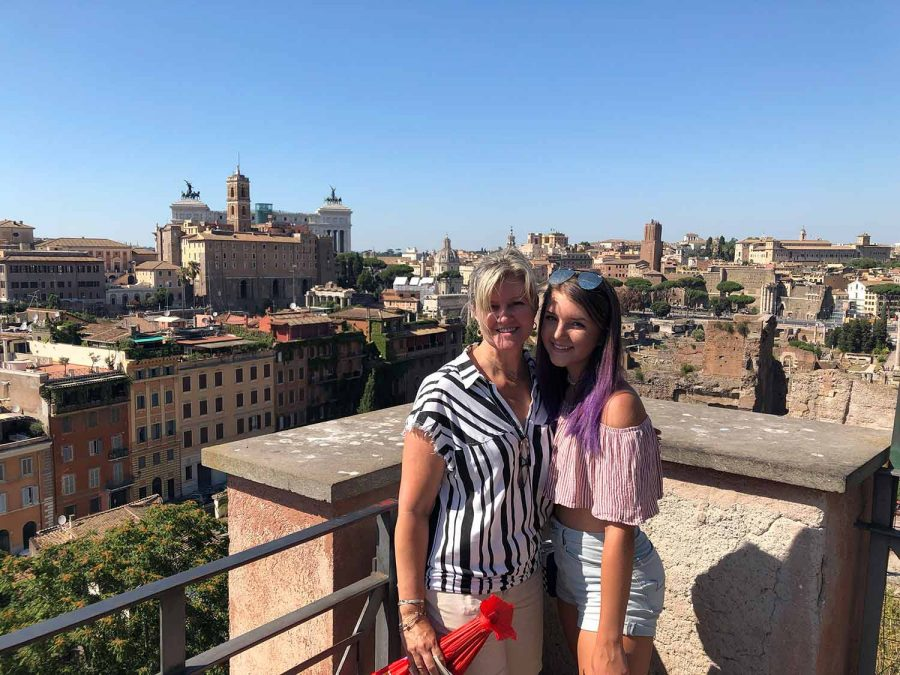 Submitted photo. Junior Emma McMillen poses with her mother, Lacy, on their vacation in Europe.