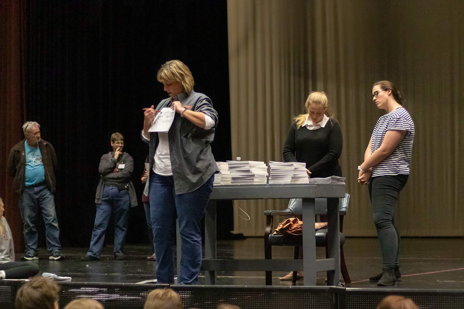 Director Lisa Newton explains directions for a scene from the Spring musical, Peter Pan. The cast and crew began preparations in November.