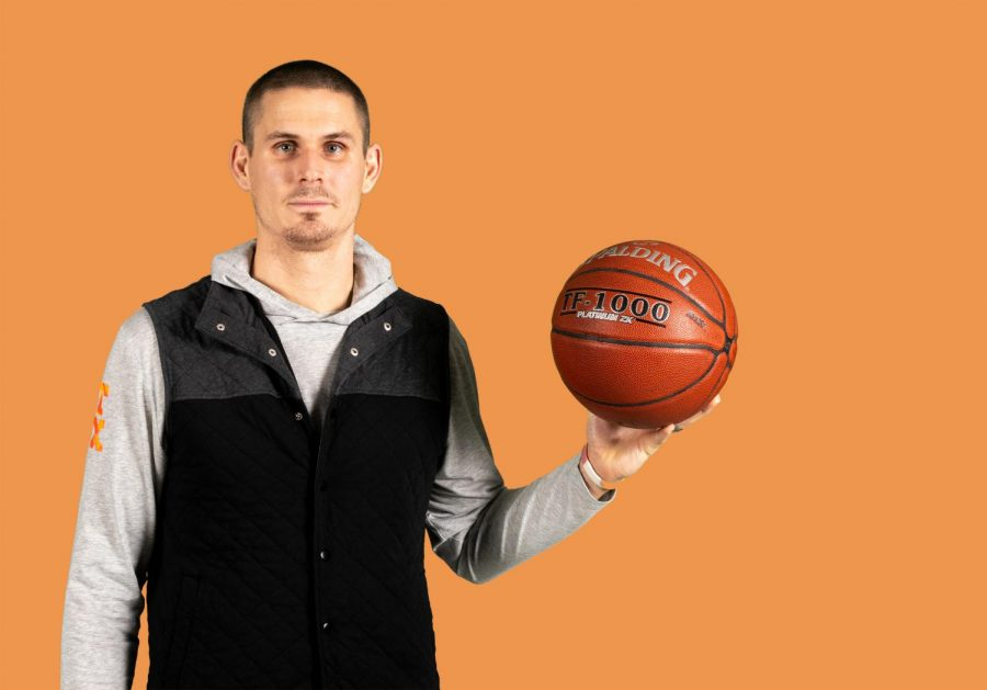 Photo illustration by Caden Rainwater. Experiences in high school and collegiate basketball and a strengthened faith gave Jacob Skinner a new perspective on coaching.