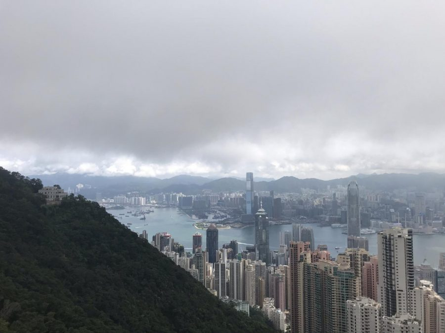 Clouds hang above the city of Hong Kong.