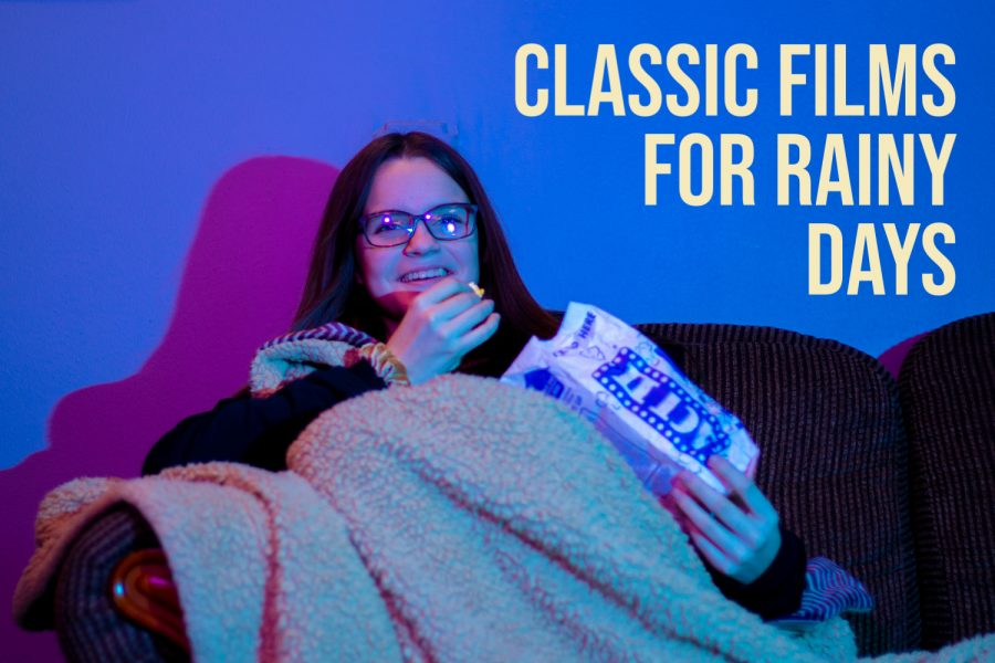 Photo illustration by Peyton Sims. A teenage girl sit on her couch with a blanket and popcorn ready to enjoy a classic film.