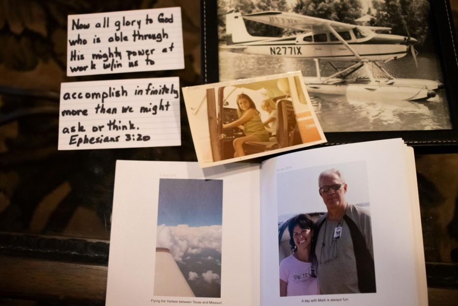 Alison Butler displays photos ranging from her first family plane in Venezuela to her recent flights with her husband. Butler included the Bible verse Ephesians 3:20 as a reminder of why she has accomplished her goals.