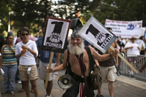 Presidential candidate Vermin Love Supreme, a performance artist, anarchist and activist, marched during a protest march on Sunday, September 2, 2012 in Charlotte, North Carolina. The Democratic National Convention is scheduled to run from September 4th-6th. (Jeff Wheeler/Minneapolis Star Tribune/MCT)