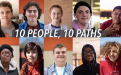 10 different high school students posed for their photo after discussing their future plans.