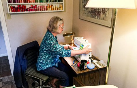 Submitted photo. Ellen Allard works on sewing masks and caps to donate to local hospitals and citizens. Many people had scraps of fabric around their house that they wanted to use effectively.