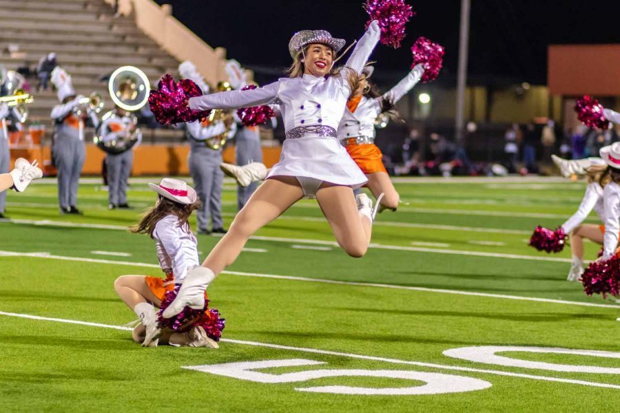 Senior Mary Claire Wright calypsos in the Texas Highsteppers half time performance. The Texas Highsteppers danced in celebration to another Tiger victory.