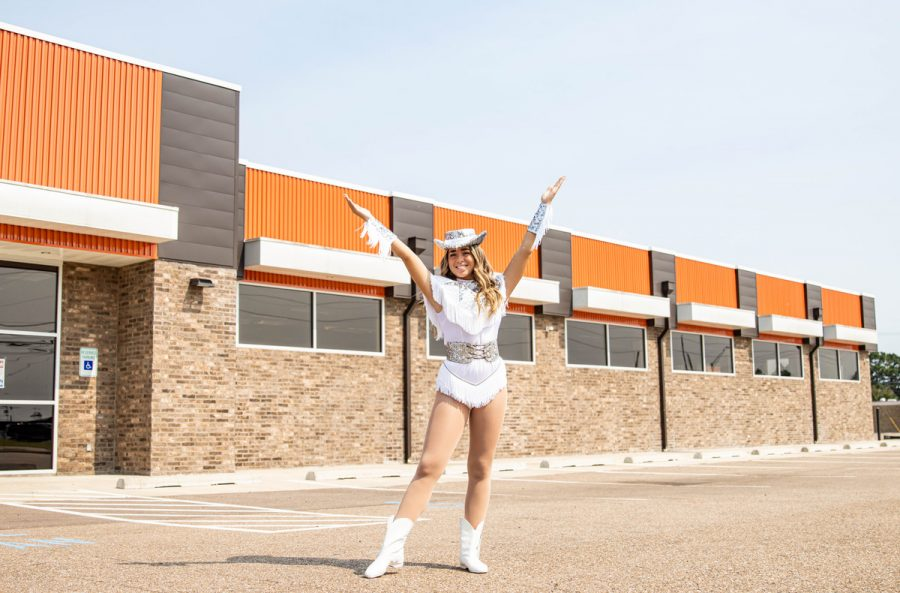 Mary Claire Wright stands outside of the Highstepper's dance studio. Wright was selected to lead as the team's 2020-2021 Captain.