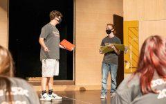 Seniors Mason Smallwood and Zane Johnston rehearse for the upcoming fall play