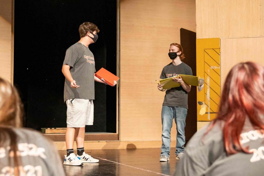 """Seniors Mason Smallwood and Zane Johnston rehearse for the upcoming fall play """"Puffs."""" Ticket can be preordered for the Nov. 7, 8 and 9 showing."""