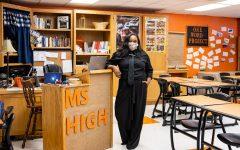 English teacher Jordan High poses in her new classroom. High began her teaching career this August alongside being a Radio DJ, dance teacher, an author and a mother.