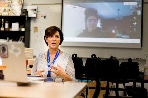 Remote student Nazaret Vasquez listens to publications adviser Rebecca Potter while she addresses the newspaper and photography staff. Because communication is a vital component to the curriculum of publications students, they often join the in class discussion and planning via Google Meets.