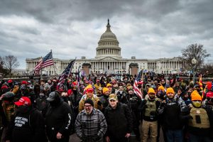 WASHINGTON, DC - JANUARY 06: Pro-Trump protesters gather in front of the U.S. Capitol Building on January 6, 2021 in Washington, DC. A pro-Trump mob stormed the Capitol, breaking windows and clashing with police officers. Trump supporters gathered in the nation's capital today to protest the ratification of President-elect Joe Biden's Electoral College victory over President Trump in the 2020 election. (Photo by Jon Cherry/Getty Images/TNS)