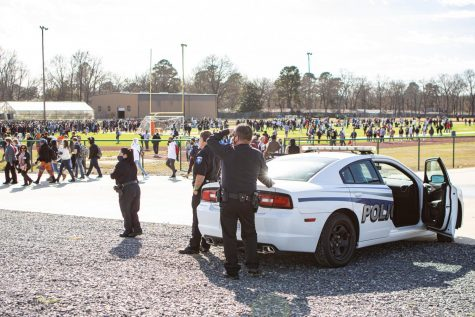 On Jan. 26, Texas High School students evacuated to the track due to a bomb threat. The Texarkana College Police Department provided extra security as students were escorted back to class.