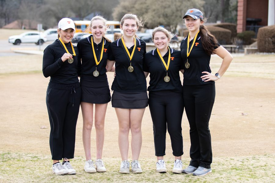The Lady Tigers placed first among four teams playing in the Pleasant Grove Invitational on Feb. 25. The girls team consists of senior Graci Henard, who won individually, juniors Katie Starr and Angie Parrott, and seniors Kenzie Parker and Johnni Hueter.