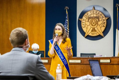 Senior Lia Graham addresses the members of last night's city hall meeting after the  mayor read her proclamation. Graham lobbied for March to be Theatre in our Schools Month in Texarkana, Texas.