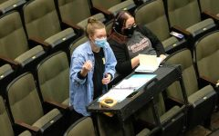 Almuni Salem Karr and Cate Rounds lead rehearsals for