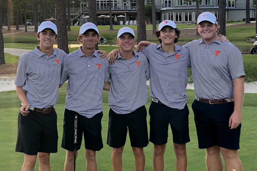 Placing second in the High School Golf National Invitational in Pinehurst, North Carolina, are 2021 graduate Camden Robertson, juniors John D. Patterson and Thomas Curry, and seniors Jackson Patterson and Jack Wilson.