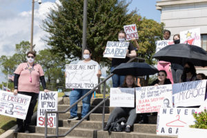 A group of protesters with ProChoice with Heart gather outside the Texarkana courthouse on Saturday, Oct. 2.